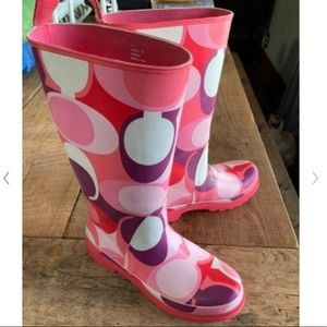 COACH PAISLEY RUBBER RAIN BOOTS PINK RED